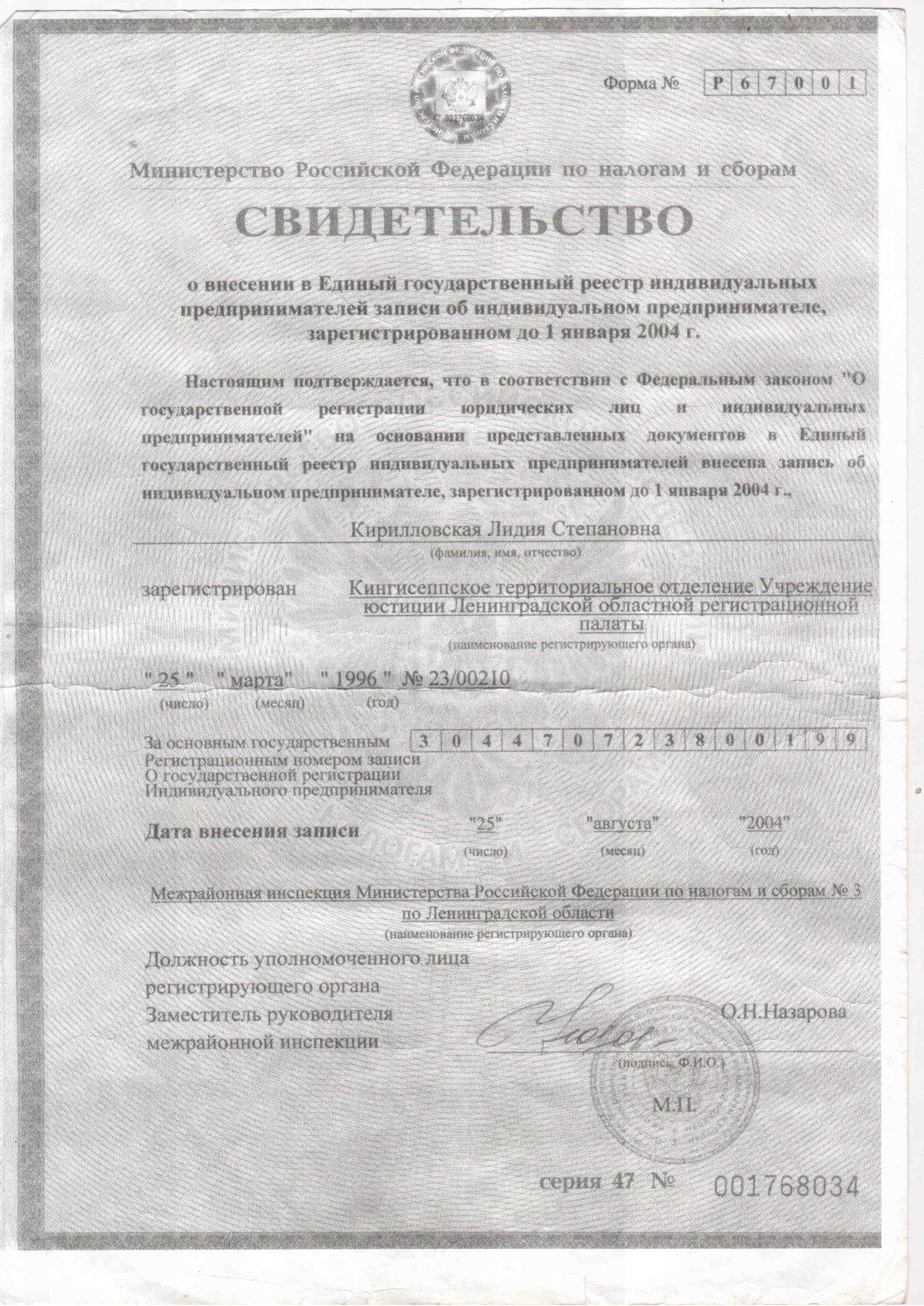 Свидетельство о государственной регистрации ИП